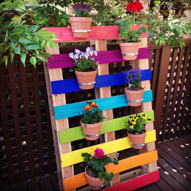 Rainbow Pallet Flower Garden Planter