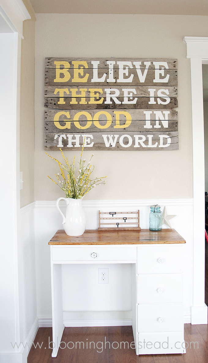 Wood Pallet Sign with a Meaningful Quote