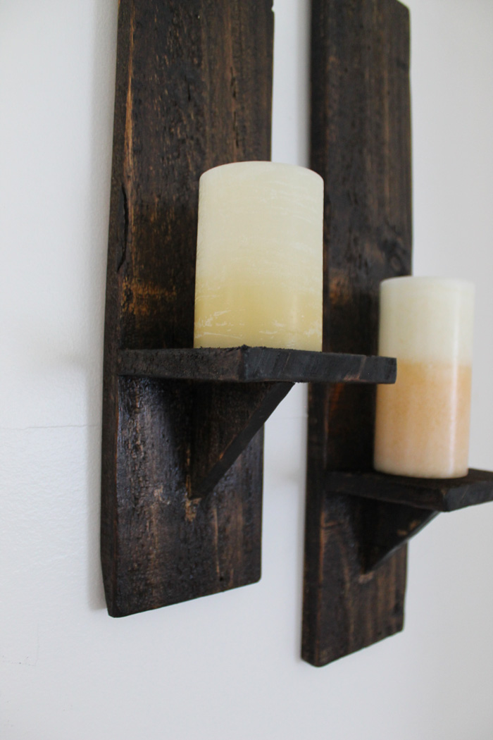 pallet wood candle sconces