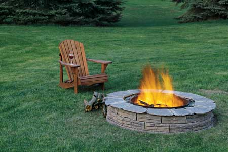 Cast Stone with Natural Stone Cap Fire Pit