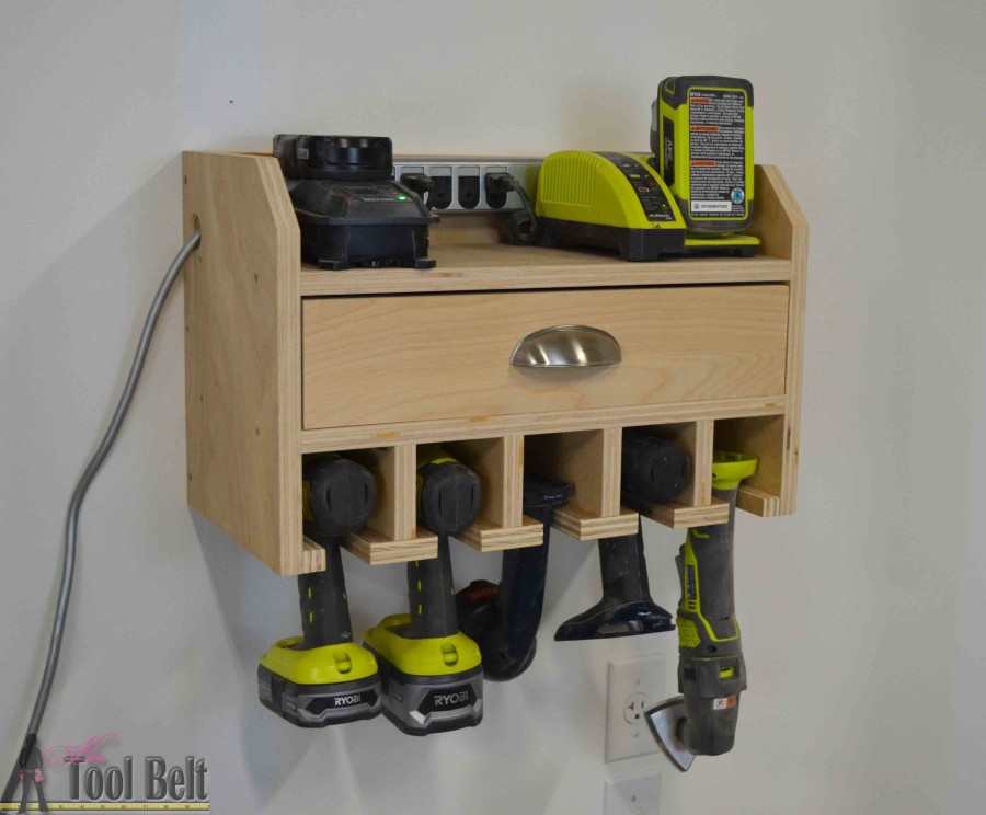 Cordless Drill Organizer and Battery Charging Station