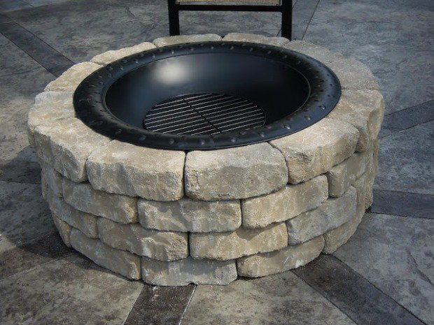 Fire Pit Made From Pre-Made Fire Pit and Retaining Blocks