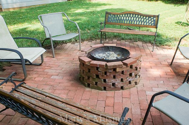 Fire Pit Using Free Bricks and an Old Chiminea