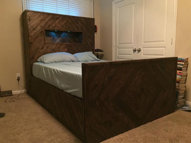 Herringbone Bed Frame with Secret Door and LED Lights