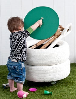 Turn Old Tires into a Storage Bin