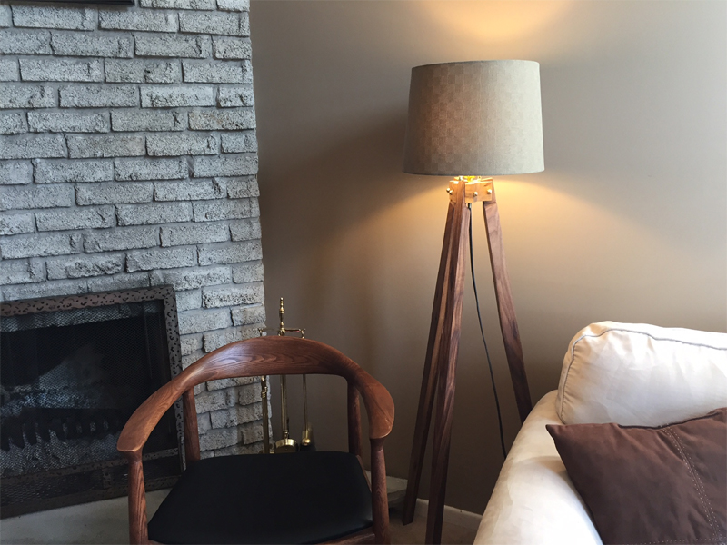 Walnut Tripod Lamp
