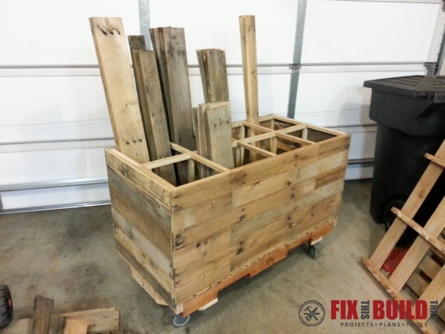 Mobile Pallet Wood Storage Cart