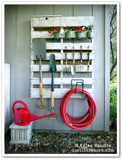 Pallet Gardening Tool Organizer