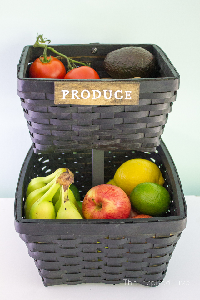 Thrifted Baskets Turned Produce Stand