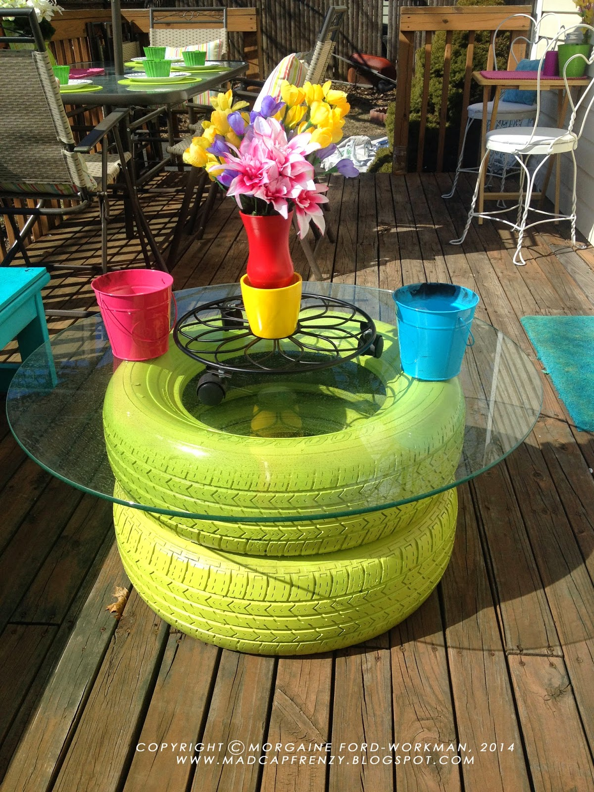 Garden Coffee Table Made Of Old Tires