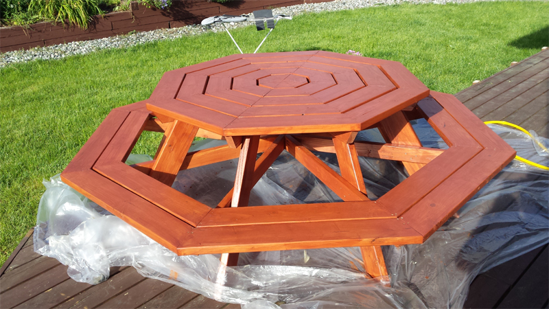 Large Wooden Octagon Picnic Table