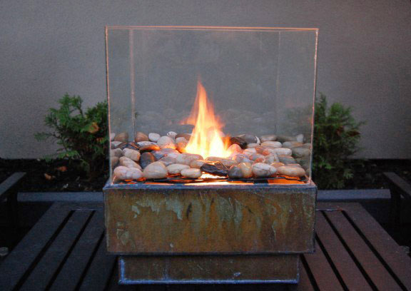 Mini fire pit in a Glass Box