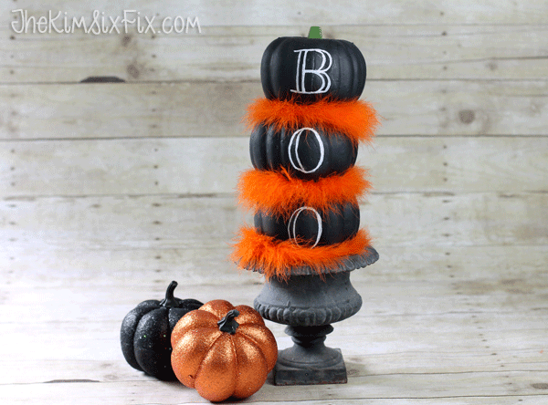 Feathered Chalkboard Pumpkin Topiary