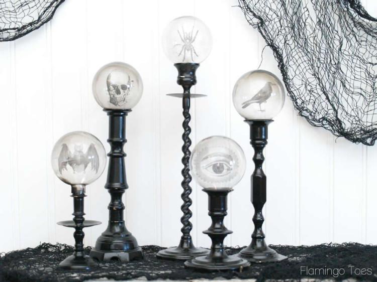 Spooky Crystal Ball Candlesticks