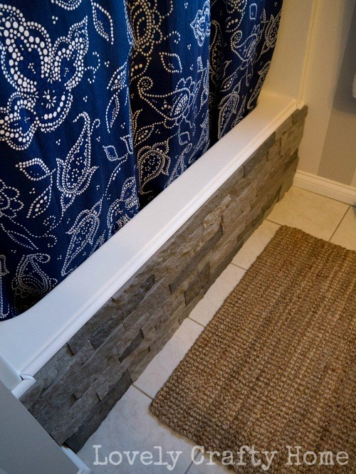 Cover Your Boring Built-In Bathtub with Faux Stone
