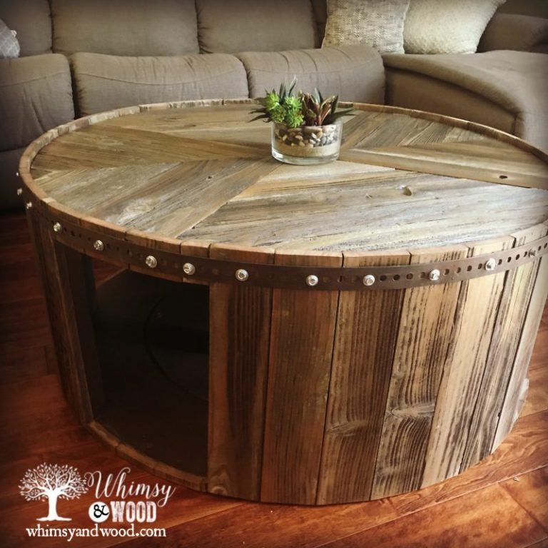 13 Cable Spool Reclaimed Fence Wood Coffee Table