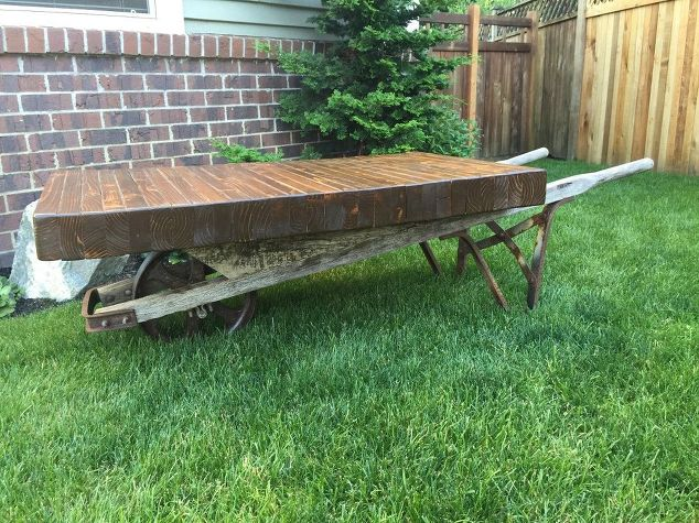 Rustic Wheel Barrow Coffee Table