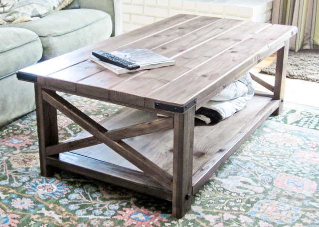Rustic X-Leg Coffee Table