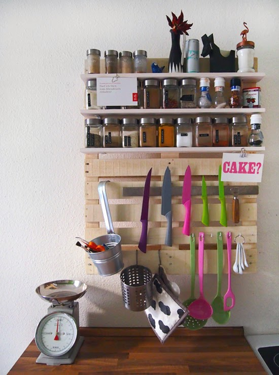 Pallet Kitchen Shelf for Spices and Kitchenware