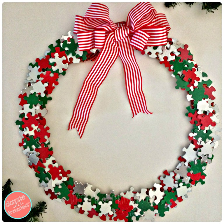 Christmas Wreath from Puzzle Pieces