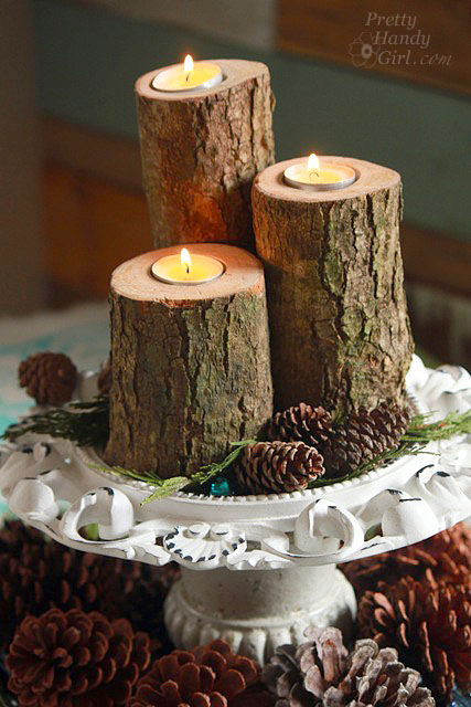 Wood Log Candle Holders