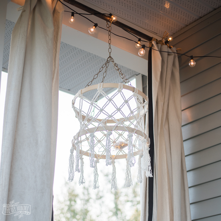 Macrame Boho Chandelier with Fairy Lights