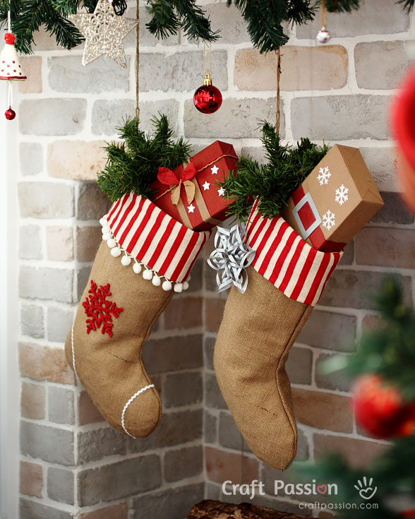 burlap christmas stocking