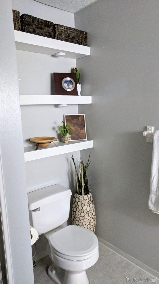 Floating Shelves Above the Toilet