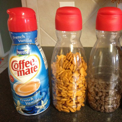 Use empty creamer bottles to store snacks