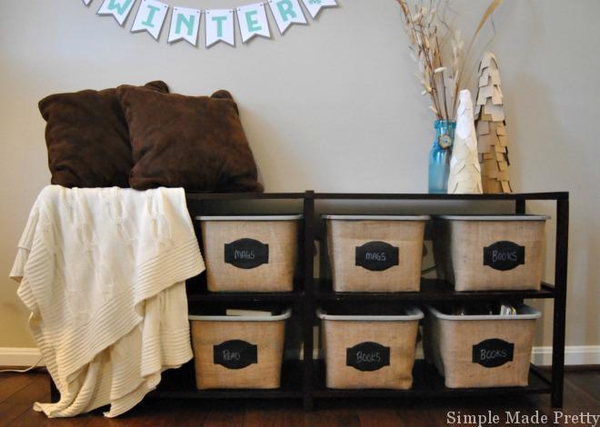 Burlap Baskets using Plastic Dollar Store Bins