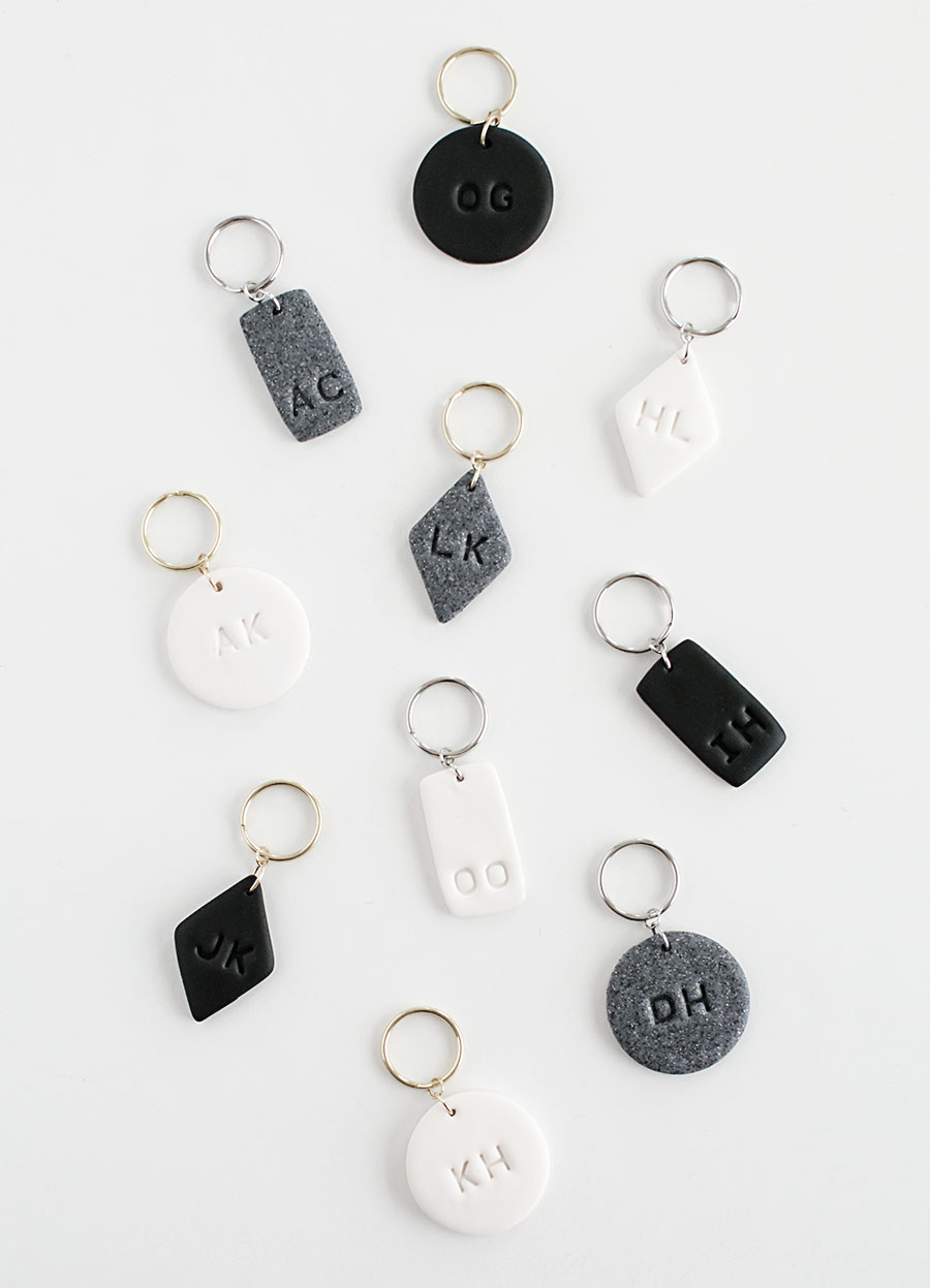 Monogram Clay Keychains