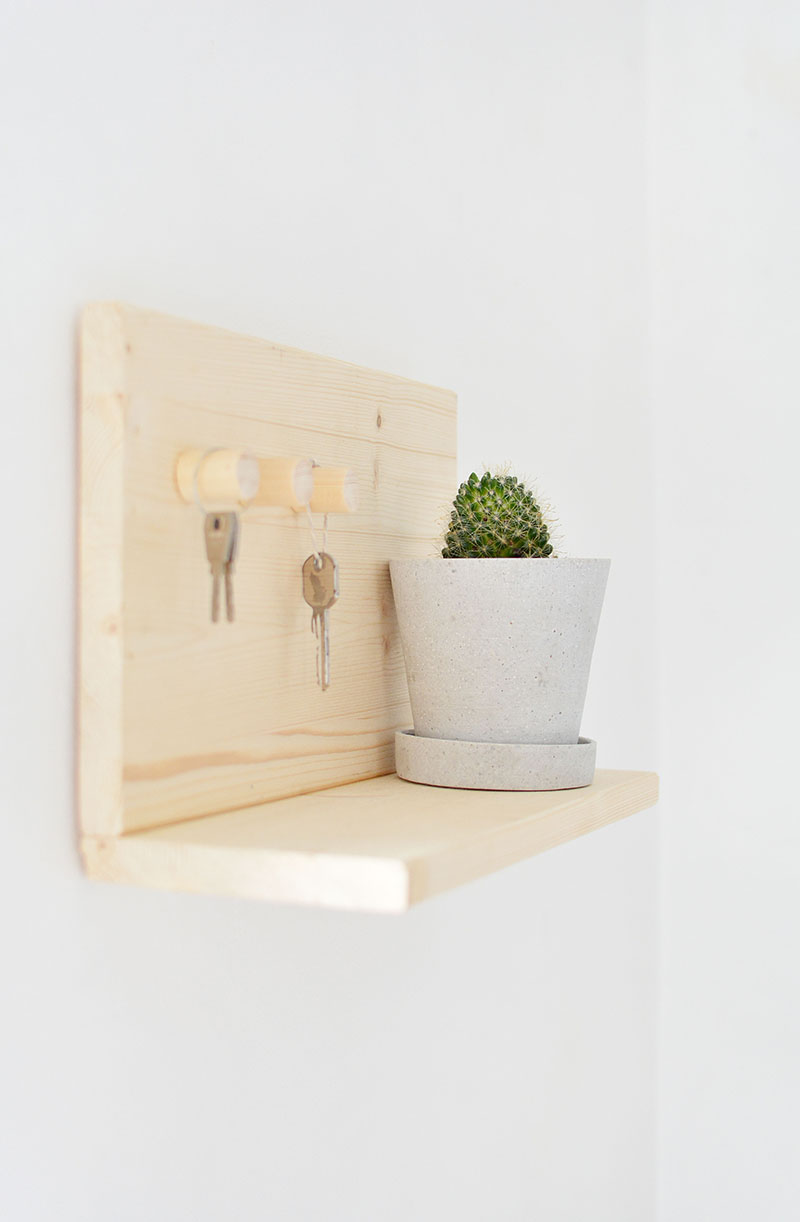Wooden Key Shelf