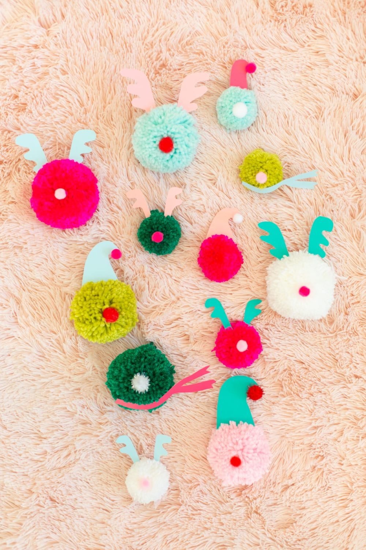 Pom-Pom Christmas Character Ornaments