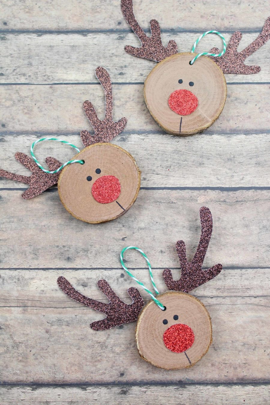 Wooden Rudolph Ornaments