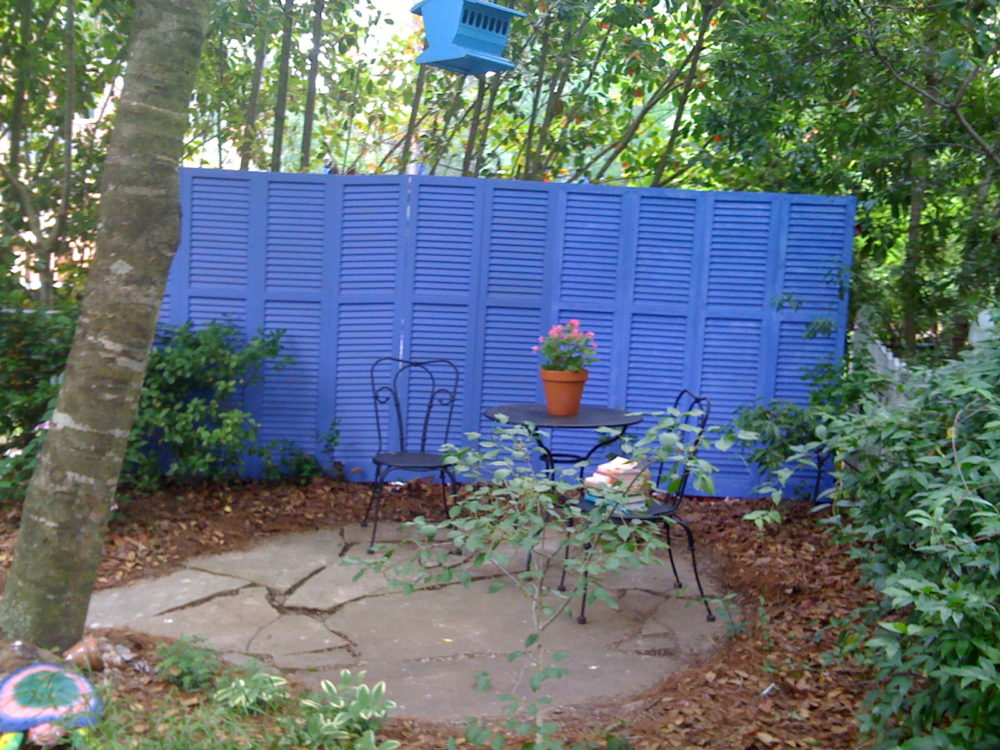 Privacy Screen Made from Old Shutters