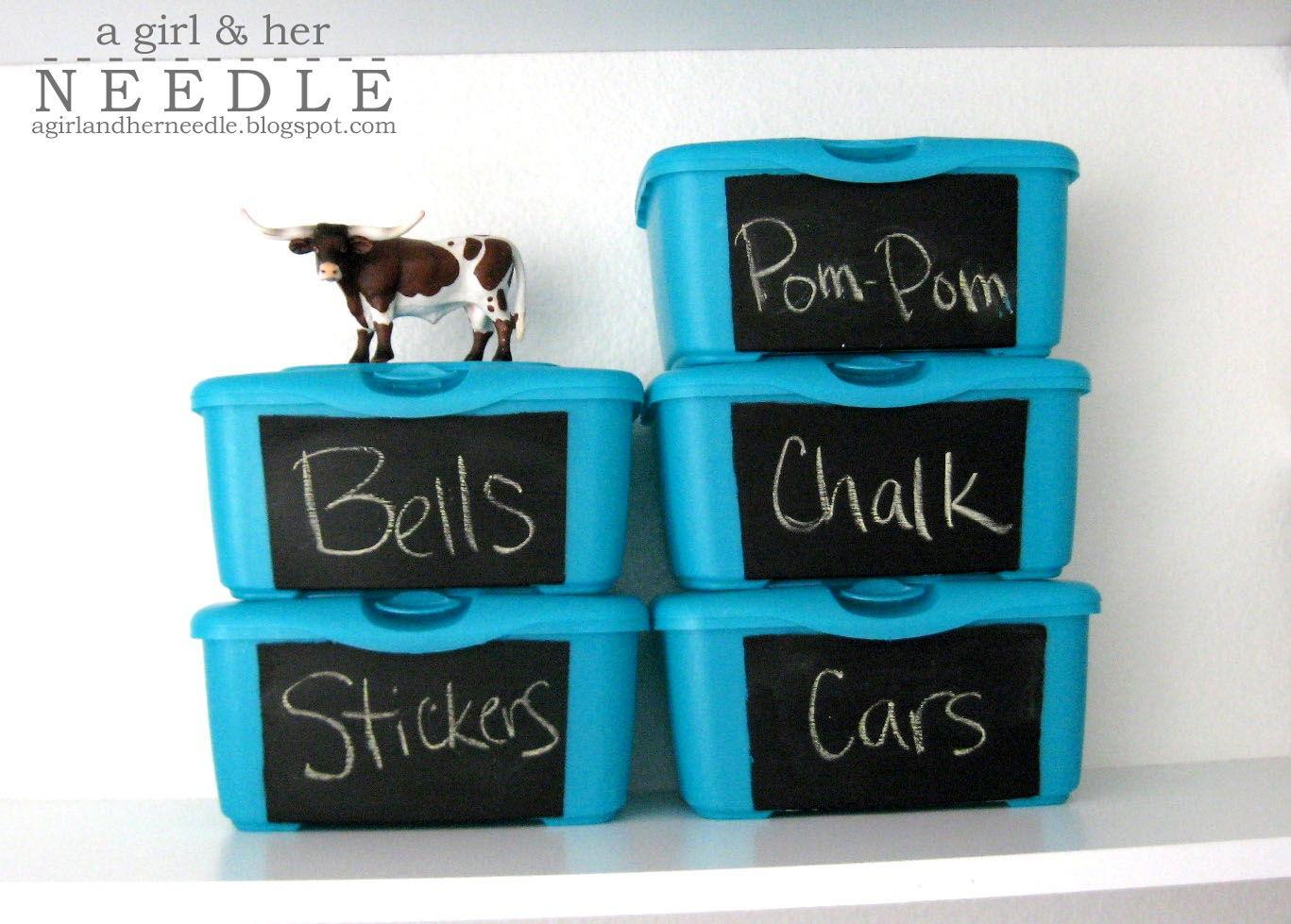 Chalkboard Storage Tubs