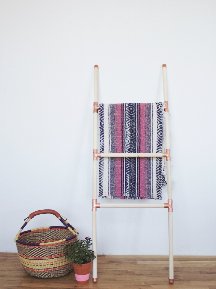 Copper & Wood Blanket Ladder