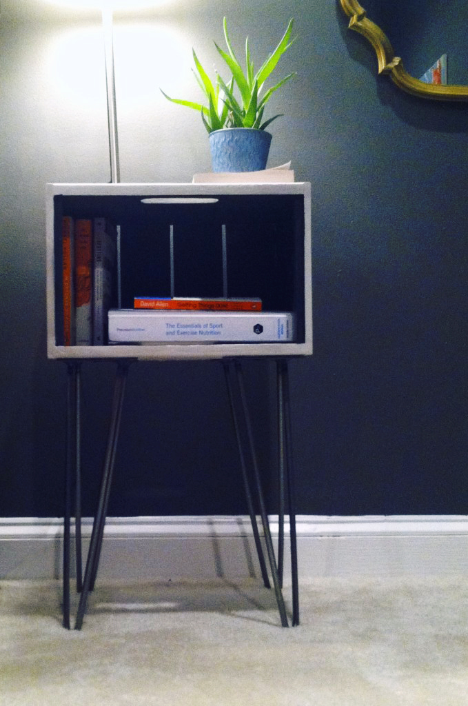 Crate Nightstand With Hairpin Legs