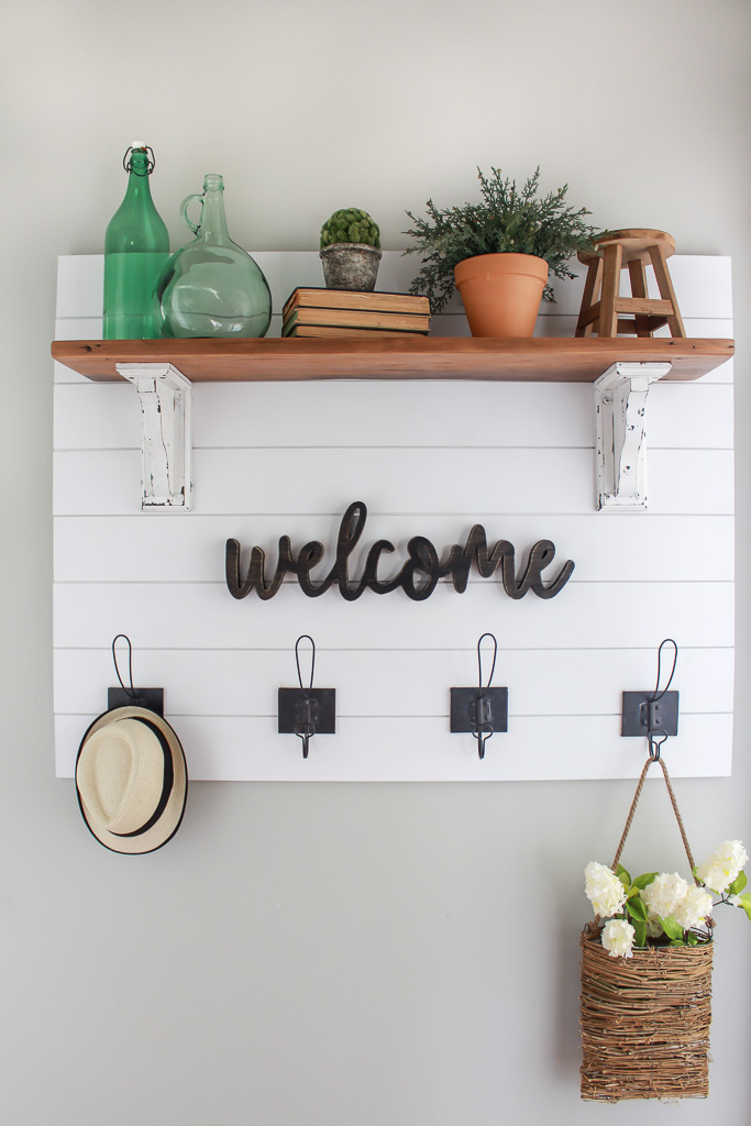 Farmhouse Style Shiplap Coat Rack