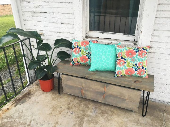 Outdoor Hairpin Leg Bench with Storage