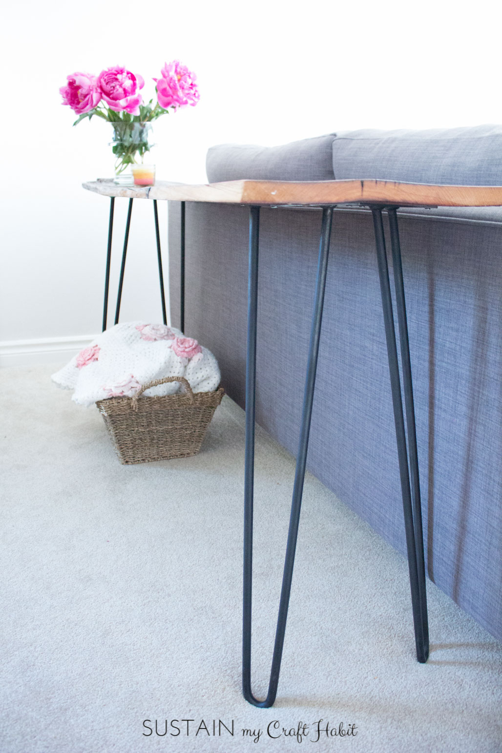 Reclaimed Wood Hairpin Leg Console Table