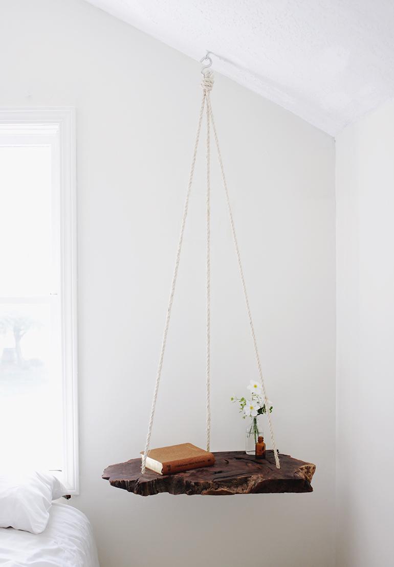Wood Slab Bedside Table
