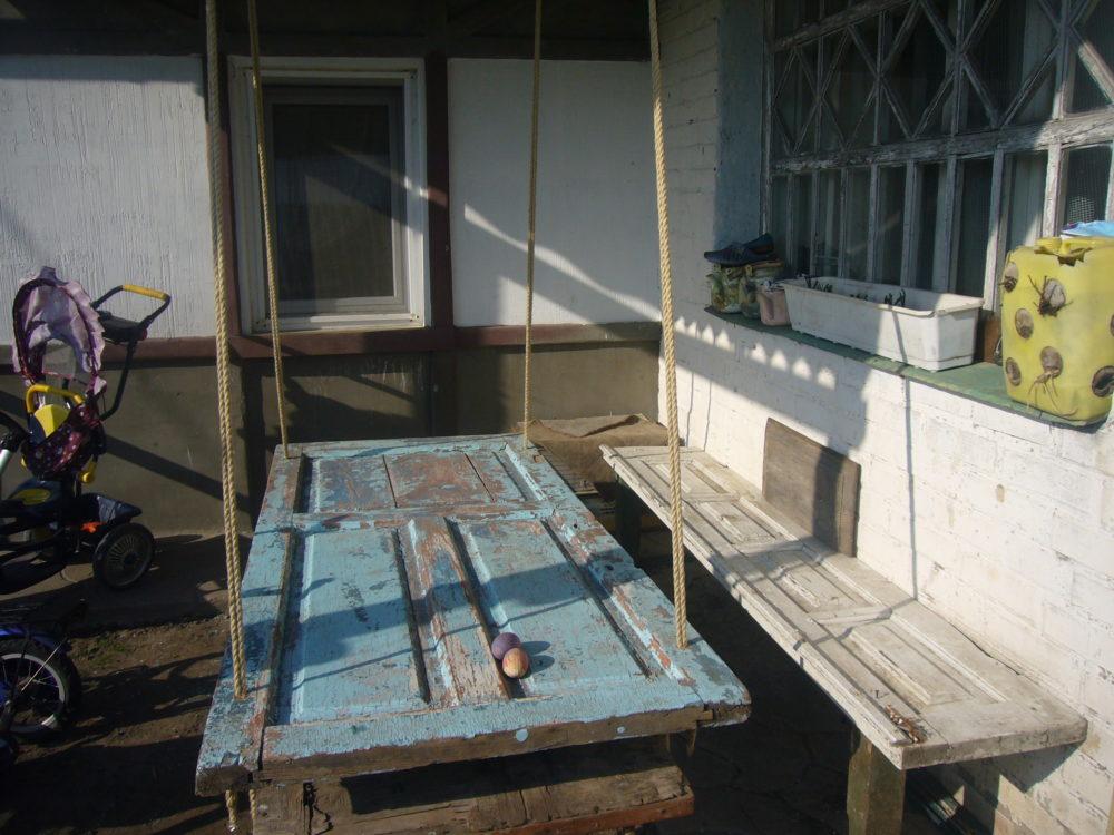 hanging garden table out of old wooden door