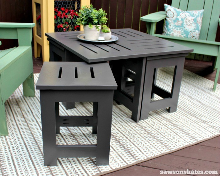 outdoor coffee table with 4 hidden side tables