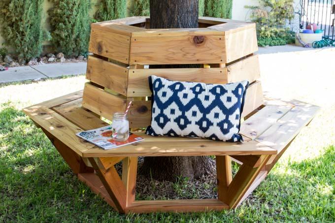 Hexagon Cedar Bench