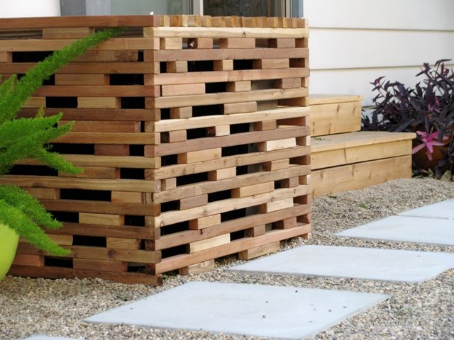 slatted wood screen
